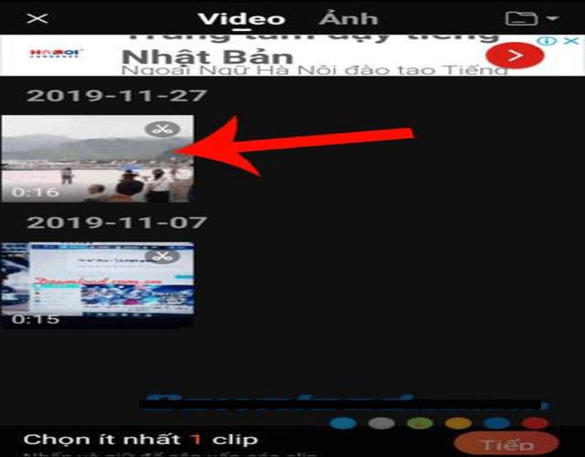 Chọn video mà mình cần ghép nhạc vào trong mục chỉnh sửa video rồi nhấn Tiếp